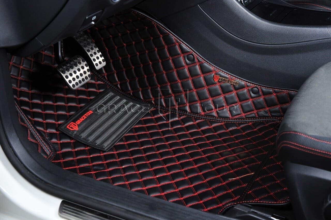 3D коврики с бортами в салон автомобиля категории Люкс чёрный с красной строчкой