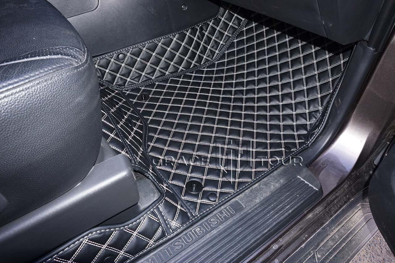 3D коврики из экокожи для автомобиля Mitsubishi Pajero. Коврики имеют высокие бортики