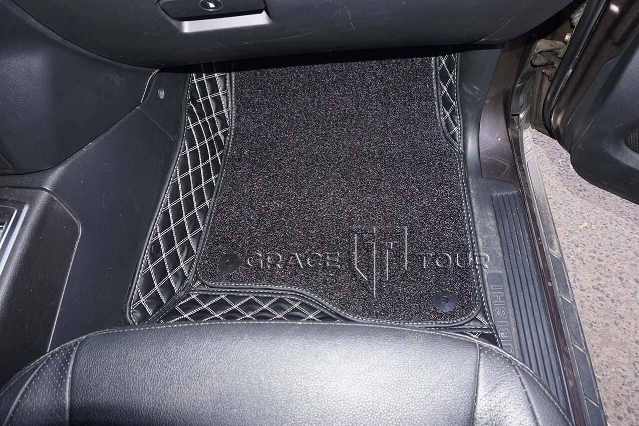 3D-коврики из экокожи для Mitsubishi Pajero. Ворсовый слой съемный