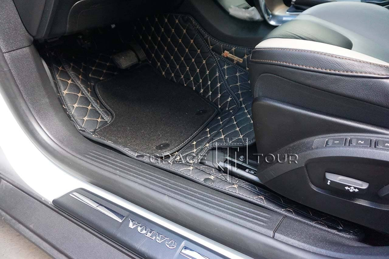 3D коврики водителя из экокожи для Volvo V40 Cross Country, с ворсом