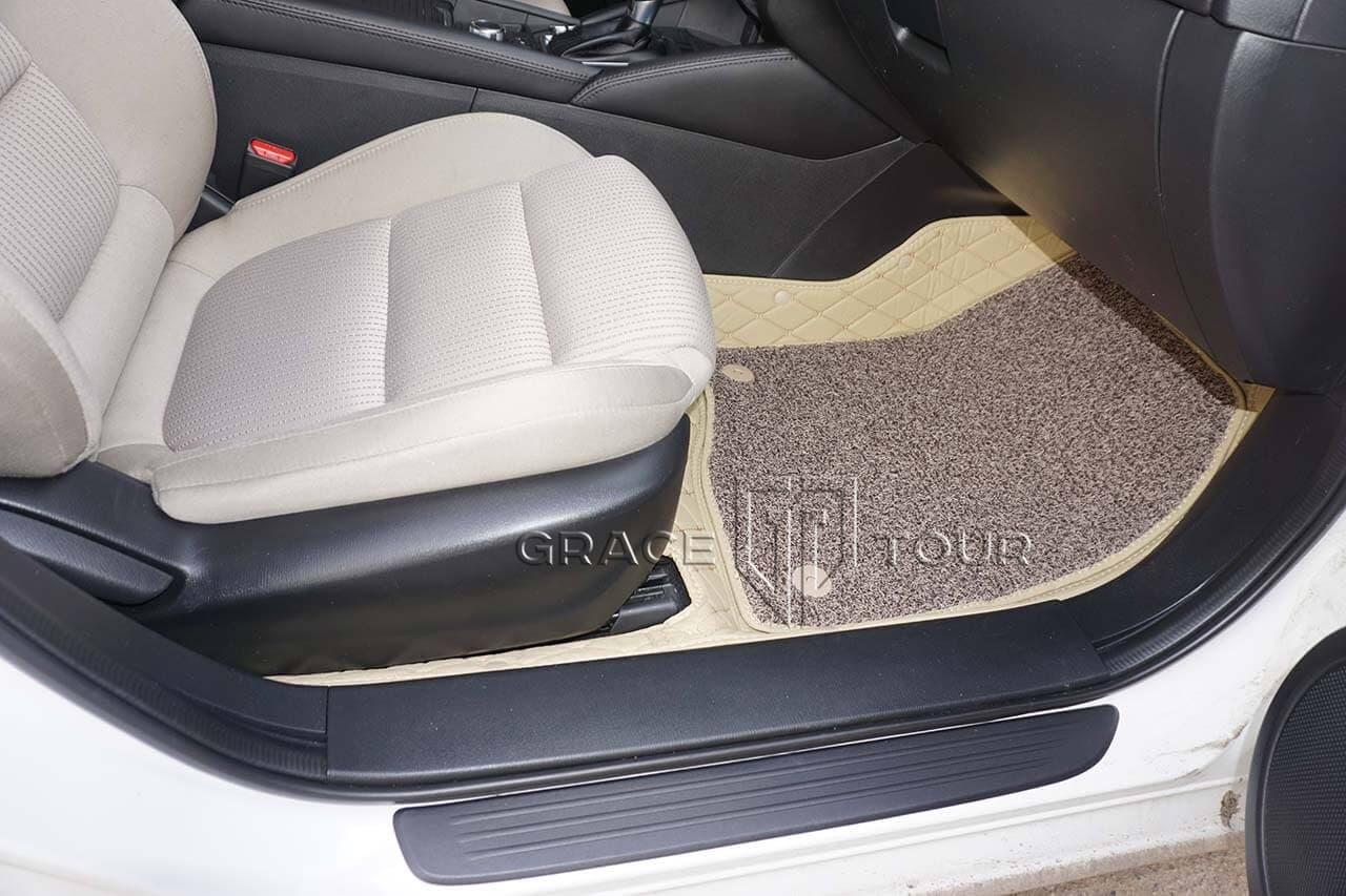 3D коврики из экокожи для Mazda 6. Материал - Премиум, строчка - одинарный ромб