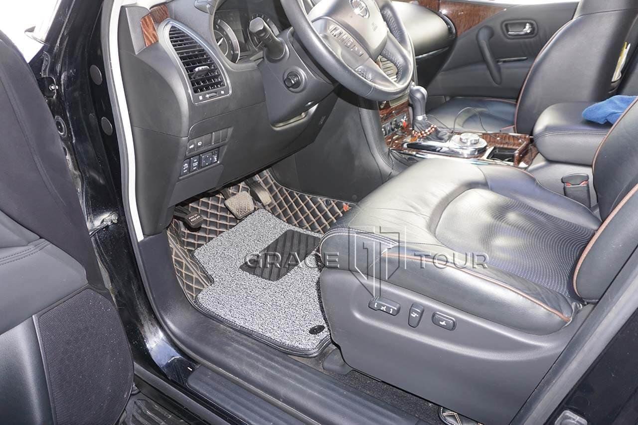 3D коврики из экокожи для Nissan Patrol. Цвет черный, бежевая строчка