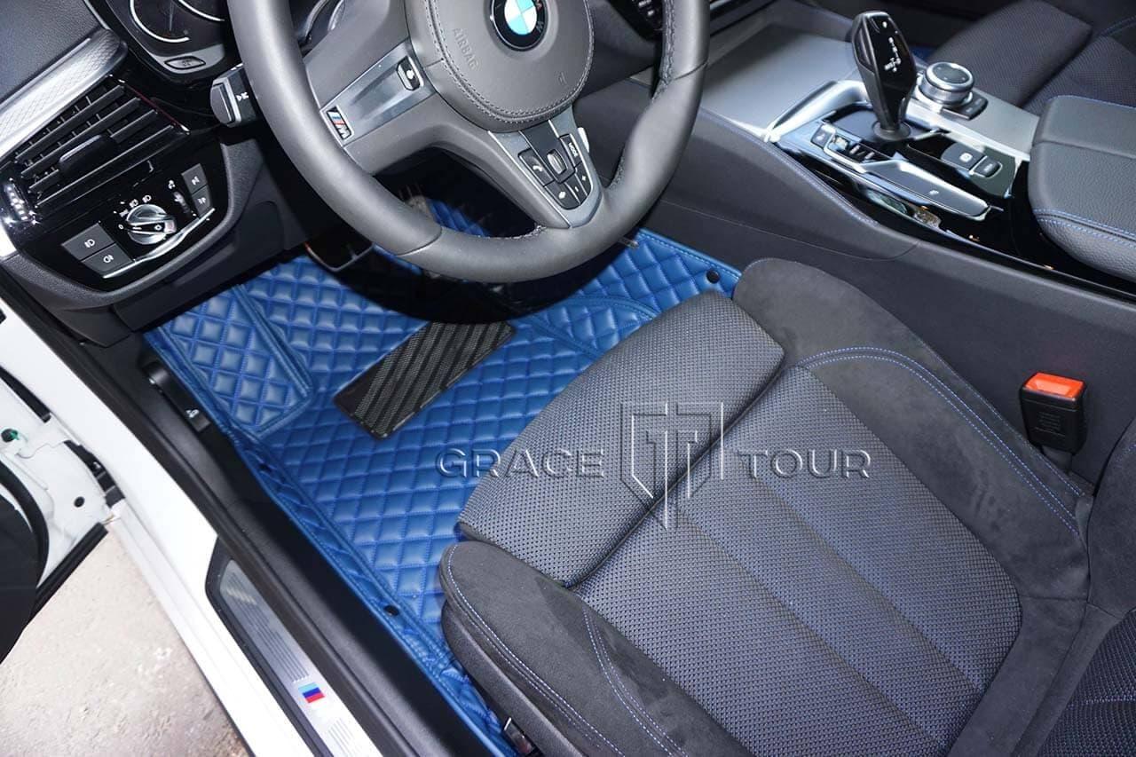 Синие коврики в салон Люкс для BMW 5 - сторона водителя