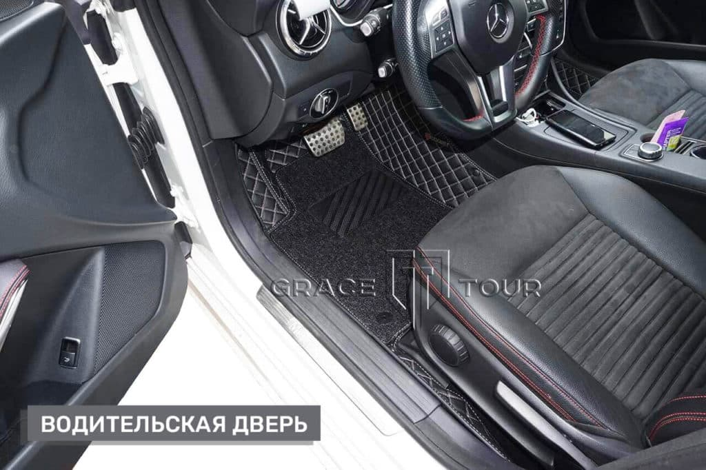 Коврик водителя из экокожи на Mercedes-Benz CLA