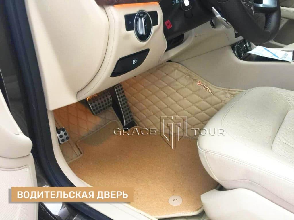 Коврики из экокожи на Mercedes-Benz CLS с ворсовой вставкой