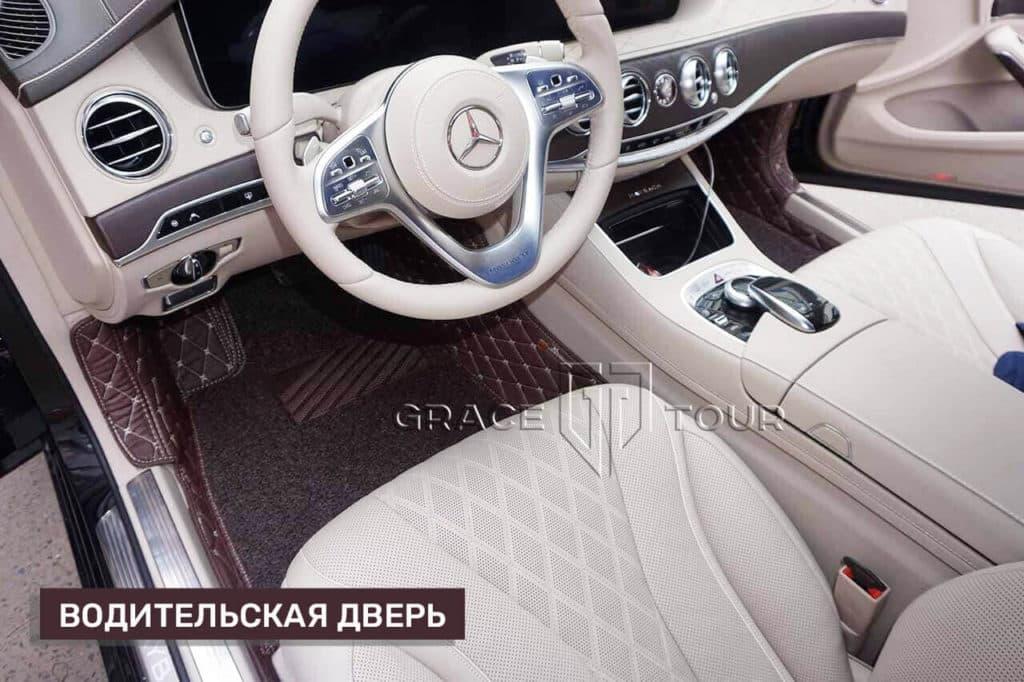 3D-коврики из экокожи на Mercedes-Benz S class, водительская дверь