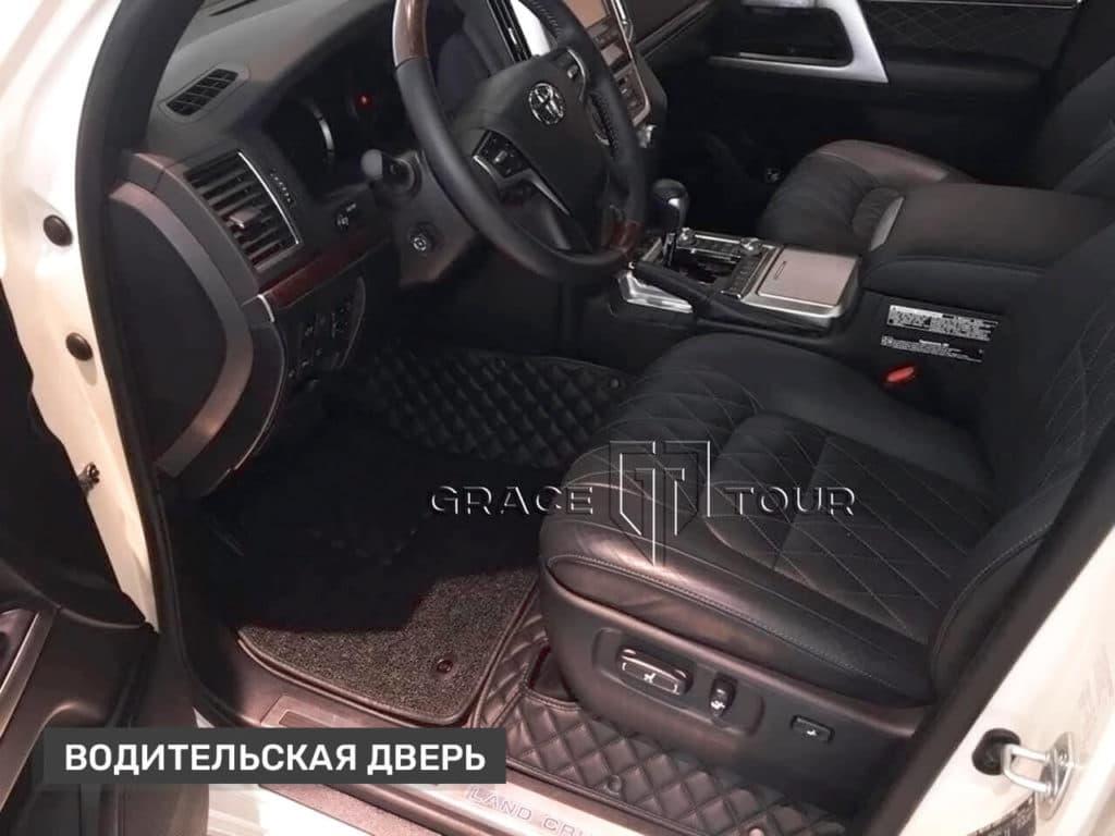 Водительский коврик из экокожи с ворсом на Toyota Land Cruiser 200