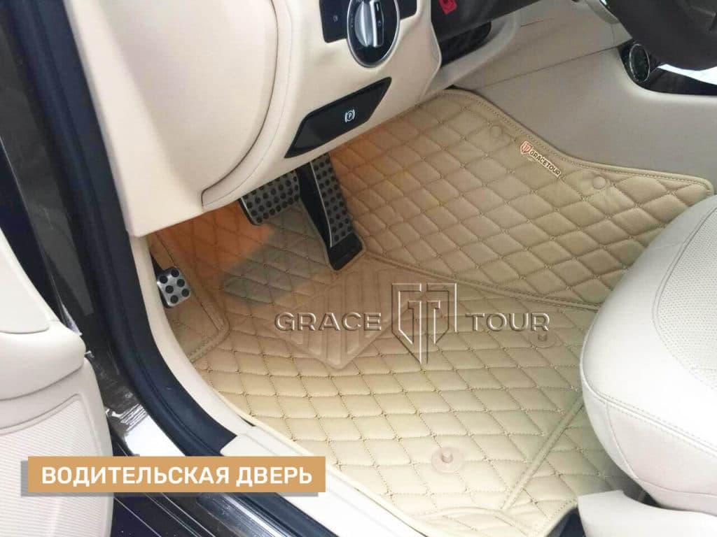 Коврик из экокожи на Mercedes-Benz CLS водительский, с подпятником