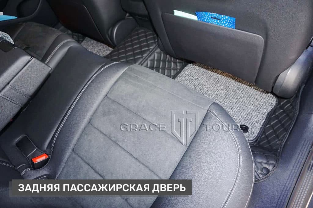 Пассажирские 3D-коврики из экокожи для Mercedes-Benz E-class