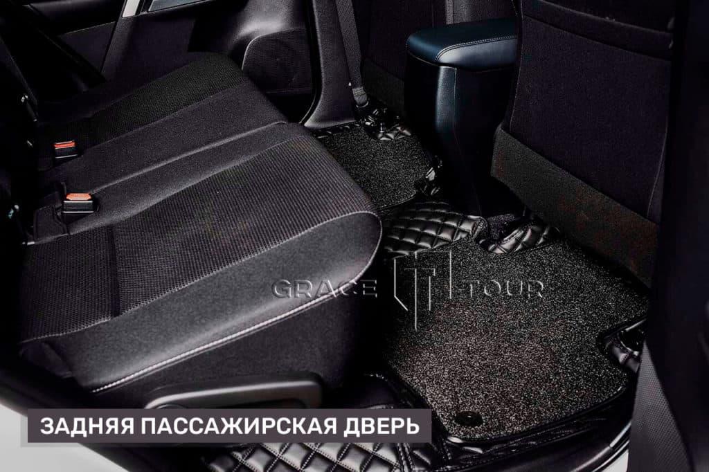 3D Коврики из экокожи на Toyota RAV 4 пассажирские, с ворсом