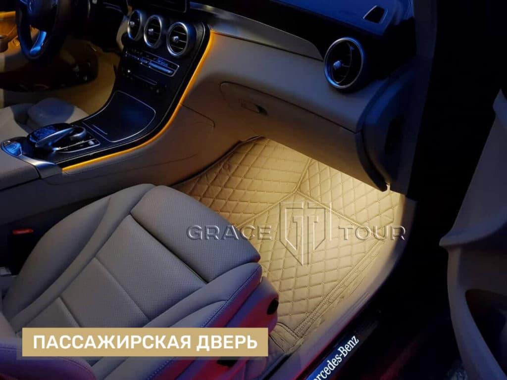 3D-коврики из экокожи для салона Mercedes-Benz GLC, сшитые по лекалам