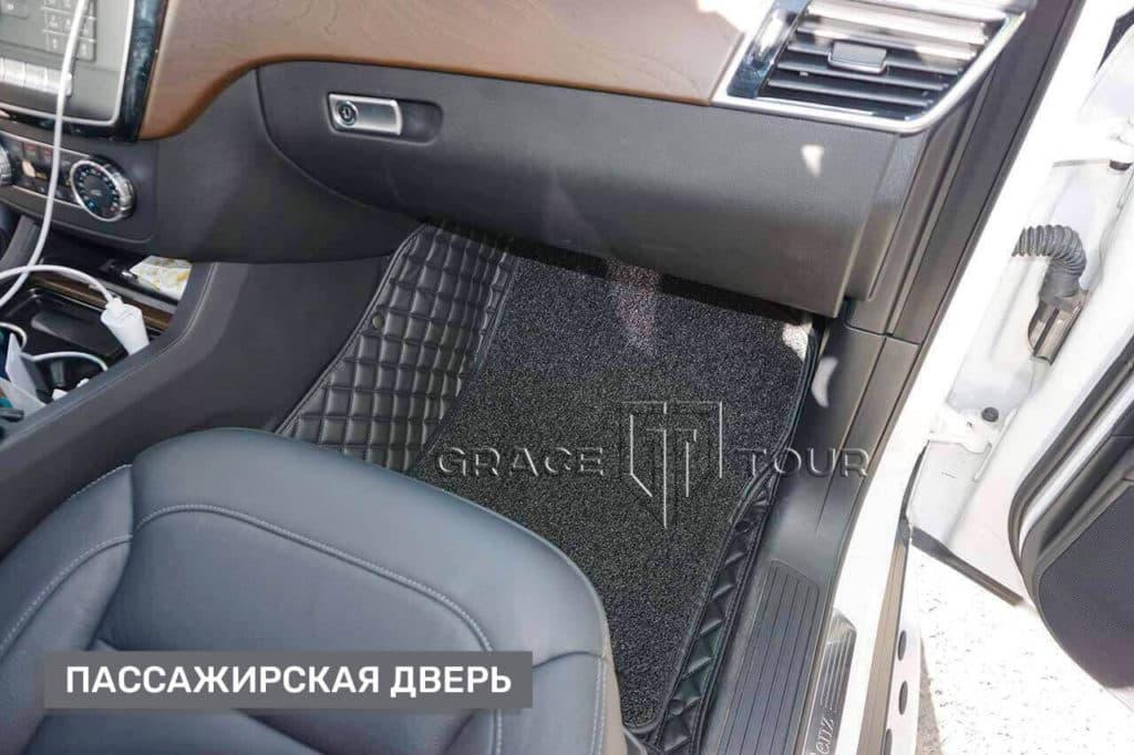 Коврики из экокожи для Mercedes-Benz ML/GLE с ворсовой вставкой на клипсах