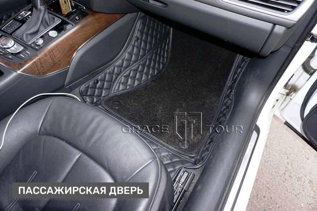 1 - Коврик из экокожи класса Люкс с ворсовой вставкой для автомобиля Audi