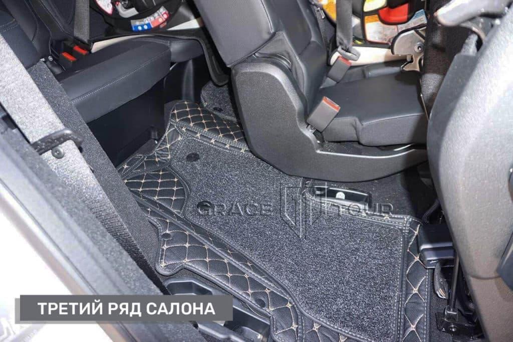 3Д-коврики из экокожи на Mercedes-Benz GL/GLS, третий ряд салона