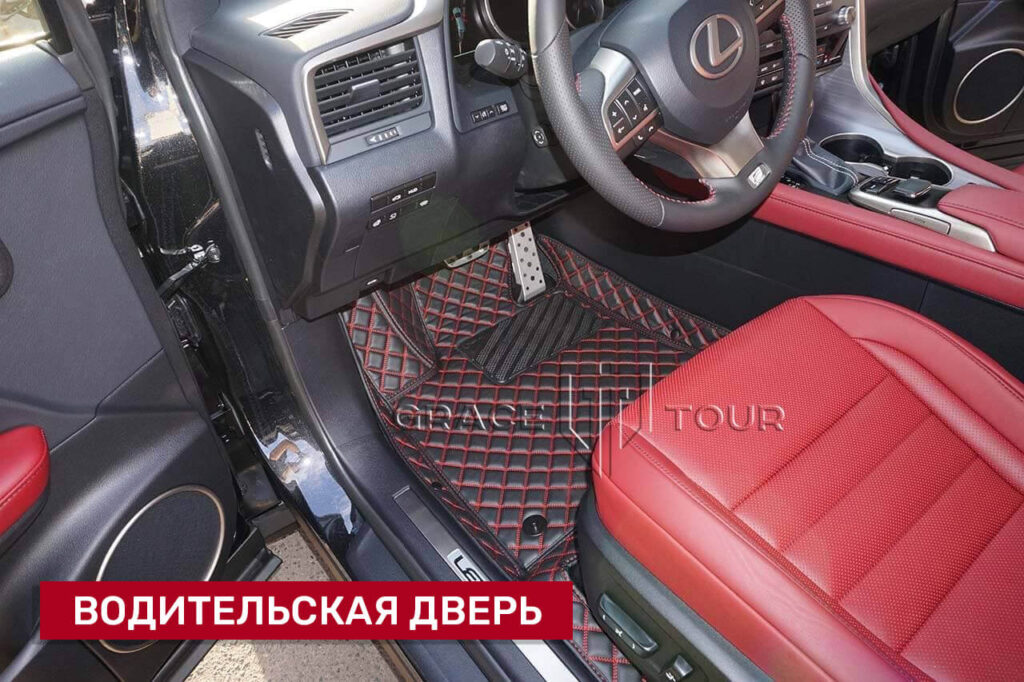 3D-коврики из экокожи для Lexus RX, черные с красной отстрочкой