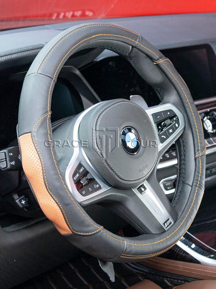 Оплётка на руль чёрная с коричневыми вставками