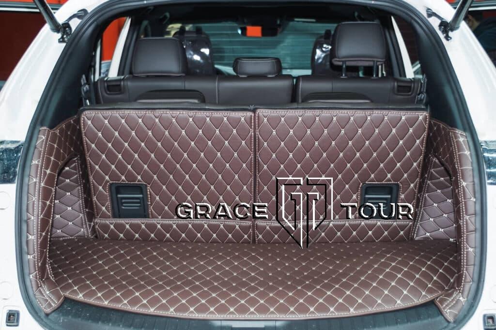 3d коврики в багажник из экокожи для Mazda CX-9 AWD с высокими бортиками и накладками на спинки сидений
